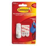 Крючок самоклеящийся COMMAND, легкоудаляемый, малый, белый, до 450 г, 17002N