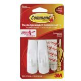 Крючки самоклеящиеся COMMAND, комплект 2 шт., легкоудаляемые, средние, белые, до 1,35 кг, 17081